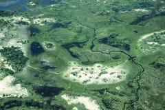 沼泽地鸟瞰图从直升机的 免版税库存图片