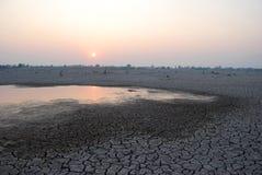 沼泽是干燥的与晚上天空 乡下泰国 库存图片