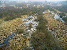 沼泽的空中图片在冬天 免版税图库摄影