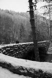 沿一座大烟雾弥漫的山脉公园桥梁的斯诺伊远足 免版税库存照片