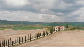 沿一条乡下公路的树在领域中间 路导致房子 意大利,Toskana 股票视频