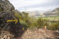 沿一条供徒步旅行的小道的标号 免版税图库摄影