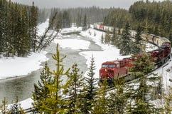 沿一条冰冷的河的货物火车在期间大雪 免版税库存图片