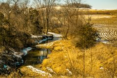 沿一条小小河的Treaking在冬天末期 库存图片