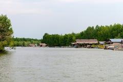 沿一条泥泞的河的渔村在Krabi泰国 图库摄影