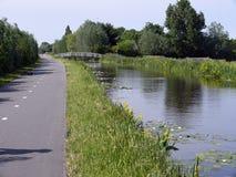 沿一条运河的小路有waterlilly ` s和女儿的开花 免版税库存图片