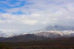 沿亚利桑那高速公路87的积雪的山 免版税库存图片