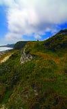 沿俯视多弗的多弗白色峭壁的人行道在大英国/英国 图库摄影