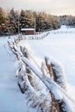 沿农村路的积雪的篱芭在冬天村庄,俄罗斯 免版税图库摄影