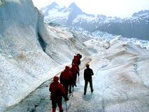 沿冰川流trekkers 免版税库存照片
