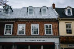 沿华盛顿街的企业,在伊斯顿,马里兰 图库摄影