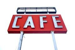 沿历史的路线66的咖啡馆标志在得克萨斯 免版税库存图片