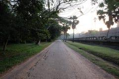 沿古老印度寺庙复杂吴哥窟的柏油路 东南亚旅游景点  免版税库存图片
