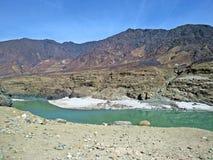沿喀喇昆仑山脉高速公路,巴基斯坦的印度河 库存图片