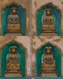 沿墙壁的金黄菩萨雕象在Linh内部 库存照片