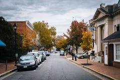 沿多弗街的秋天颜色,在伊斯顿,马里兰 免版税库存照片