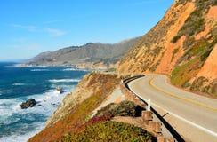 沿太平洋海岸的高速公路1赛跑在加利福尼亚 免版税库存图片