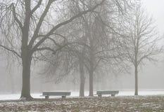 沿有雾的路径供以座位二 免版税图库摄影