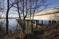 沿桥梁雪松英尺线索 免版税图库摄影