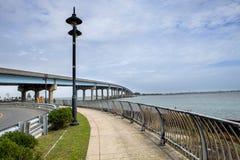 沿水的人行道在新泽西 库存图片