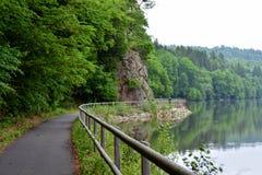 沿河的森林道路 库存照片