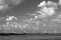 沿河的风轮机蹲下,艾塞克斯,英国 库存照片