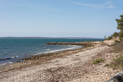 沿法尔茅斯` s光亮的海Bikeway的风景看法 库存图片