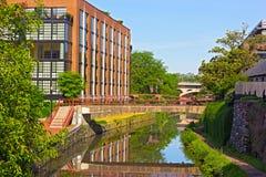 沿波托马克河的北部银行的运河在乔治城,华盛顿特区 库存照片