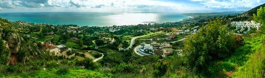 沿海全景在马拉加 图库摄影