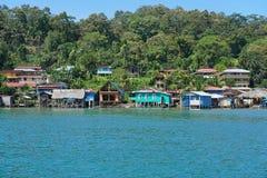 沿海加勒比村庄在巴拿马 库存照片