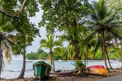 沿海在Puerto Viejo de塔拉曼卡村庄,科斯塔Ri 免版税库存图片