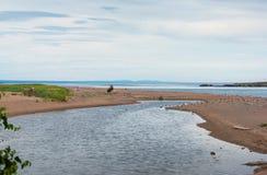 沿海场面在加斯佩,魁北克 免版税库存照片