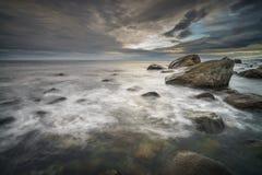 沿海场面在Eggum, Lofoten海岛 免版税库存照片
