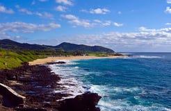 沿海夏威夷奥阿胡岛视图 免版税库存照片