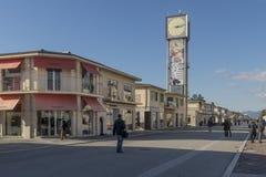 沿海岸区和钟楼在维亚雷焦,卢卡,托斯卡纳,意大利 库存图片
