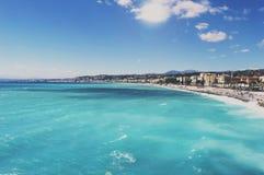 沿海岸区在尼斯,法国,著名法国手段,天蓝色的海岸, 库存照片