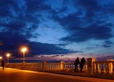 沿海岸区在晚上 免版税库存图片