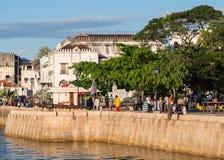 沿海岸区在桑给巴尔石头城,桑给巴尔,坦桑尼亚 免版税库存照片