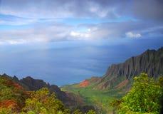 沿海岸夏威夷考艾岛napali谷 免版税库存照片