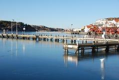 沿海村庄在冬天 库存照片