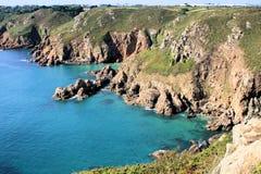 沿海根西岛岩石 免版税图库摄影