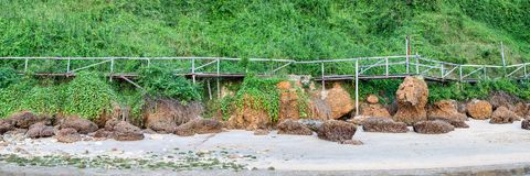 沿海海滩的木老桥梁 免版税库存照片