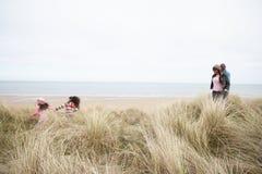 沿海滩沙丘系列走的冬天 图库摄影