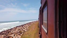 沿海火车海边风景在斯里兰卡 影视素材