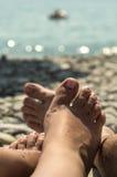 沿海的人们 免版税库存照片