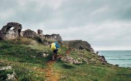 沿海的旅客,北部西班牙 图库摄影
