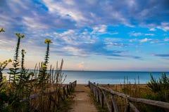 沿海的步行一个热的夏天早晨 库存照片