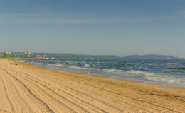 沿海的离开的沙滩 库存照片