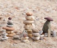沿海石头金字塔3 库存图片