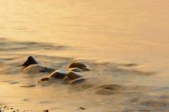 沿海缅因在海滩晃动在日出 库存照片